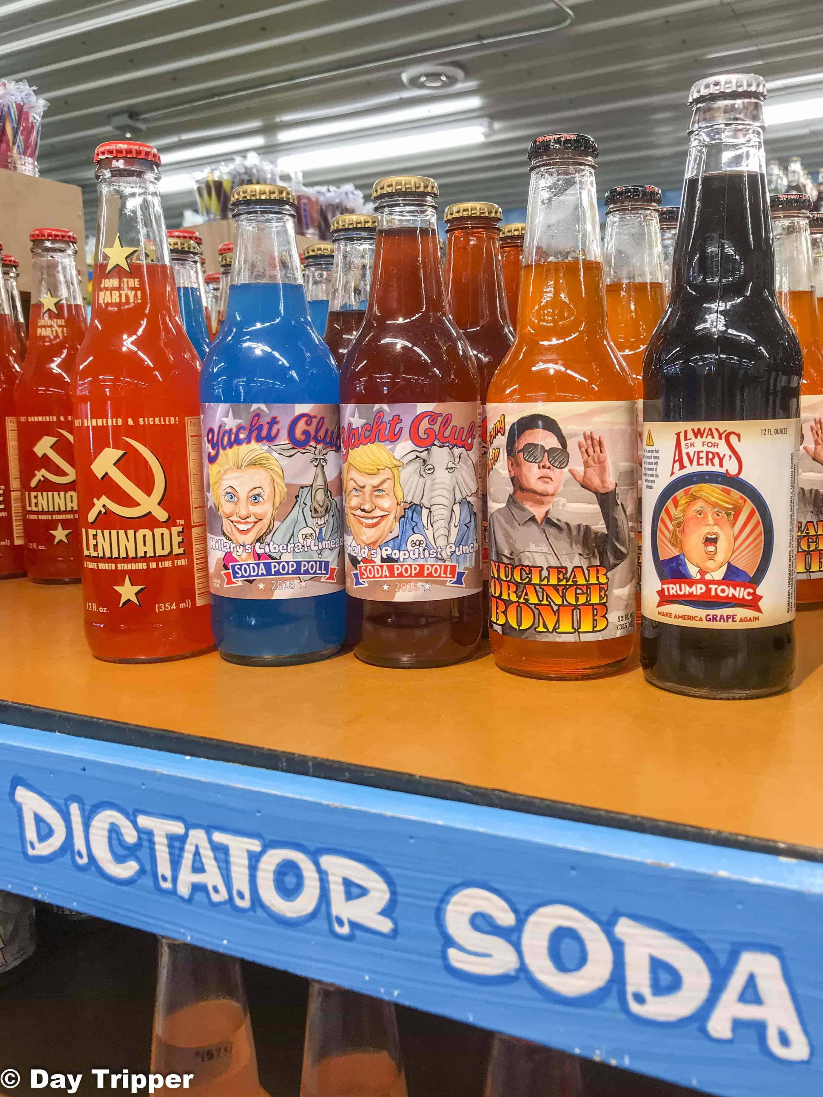The Soda selection is endless at the candy store.