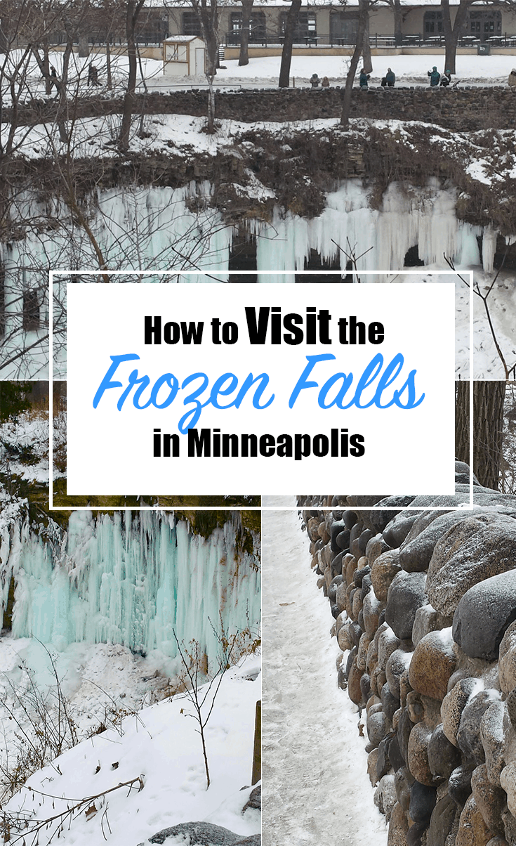 Looking for something to do this winter in the Twin Cities? Minnehaha Falls will not disappoint. Here is your guide on how to get the best view of Minneapolis. #TwinCities | Family Fun | Frozen Waterfall | Winter | Minnesota | Minneapolis | Outdoors