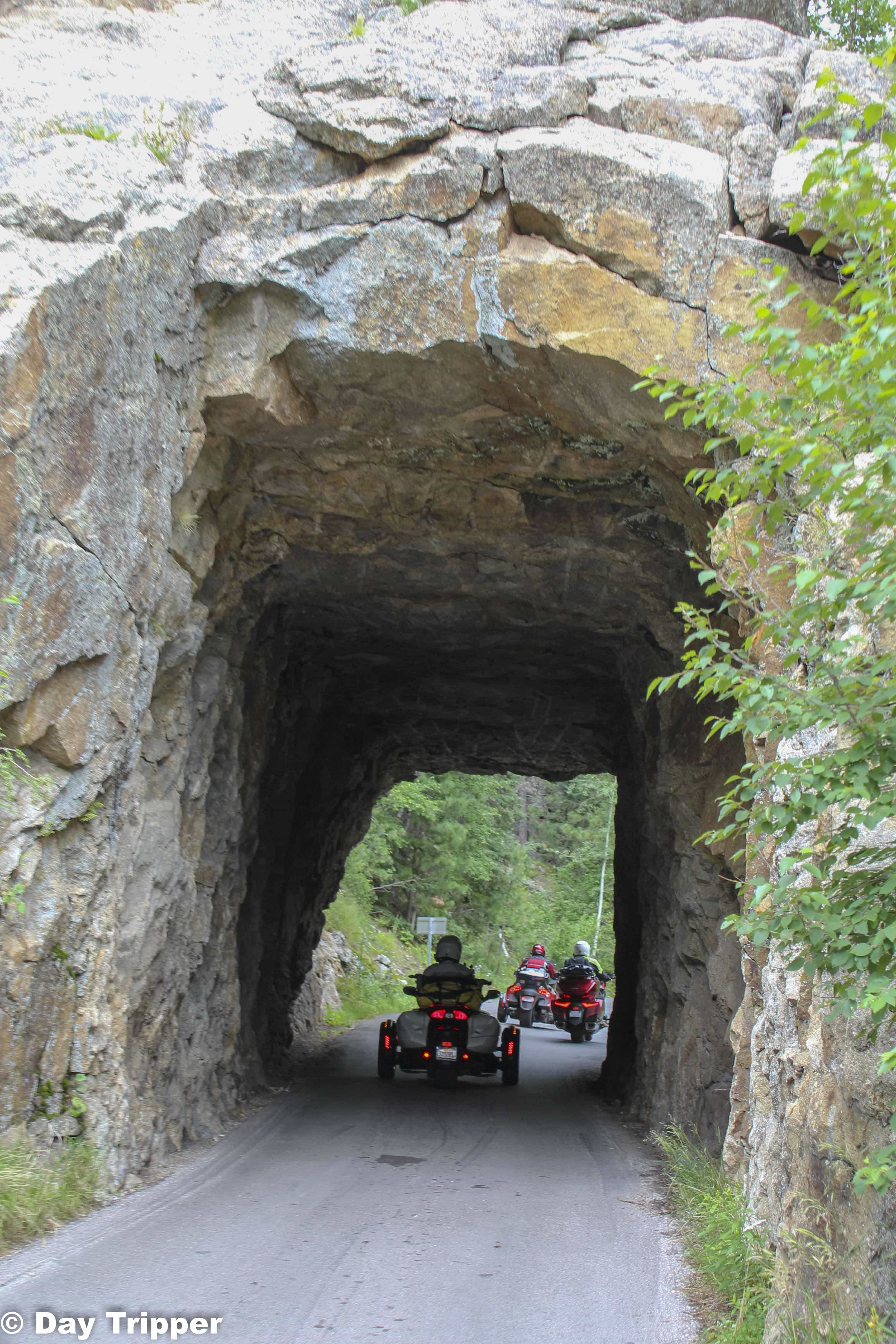 Motorcycles crossing through the tunnels on Needles Highway